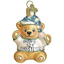 Old World Christmas Baby's First Teddy Bear Glass Blown Ornament