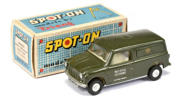 "Spot On No.210/2 Morris Mini ""Post Office Telephones"" Van - green, cream interior, cast hubs - Excellent in Good Plus carded picture box, displays well"