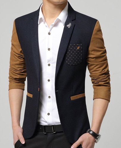 Elegant Printed Pocket Metal Embellished Color Spliced Lapel Long Sleeves Slim Fit Blazer For Men