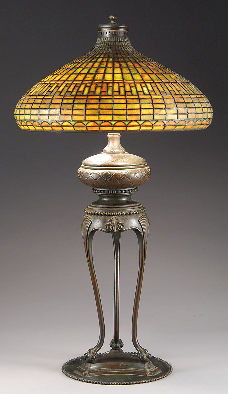 Casa cortes lush mosaic art glass 25 inch table lamps set of 2 - A Tiffany Studios Chinese Tyler Table Lamp Consisting Of A Geometric Pattern Over A Half Moon