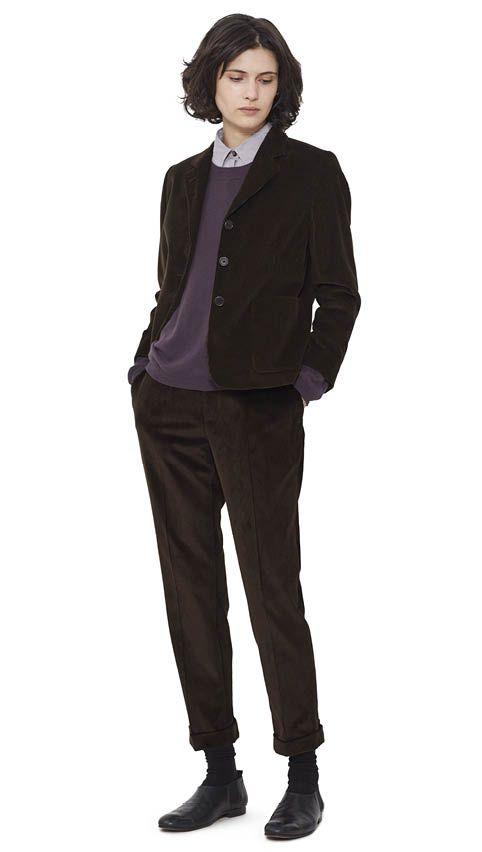 WOMEN AUTUMN WINTER 15 - Cobnut corduroy Boys Jacket, damson cashmere Deep Trim T-Shirt, lilac silk/cotton Classic Shirt, cobnut corduroy Cropped Cuffed Trouser, black leather Chelsea Shoe