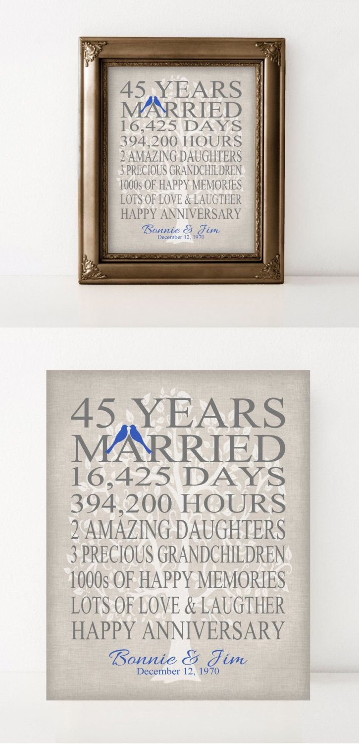 45th Wedding Anniversary Gift for Parents Sapphire Anniversary Gift 45 Years Blue Personalized Keepsake Gift for Grandparents Art Print by PrintsbyChristine on Etsy