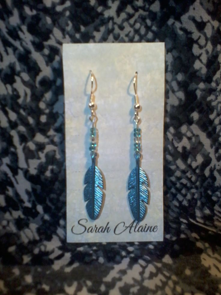 Blue Feather Charm Earrings