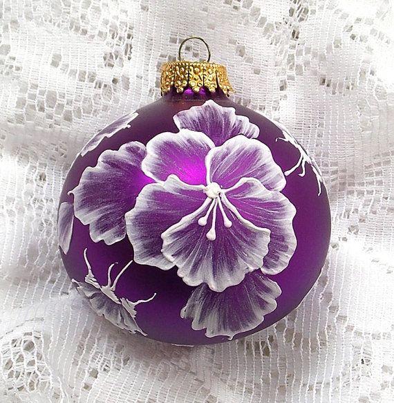 Red Violet MUD Pansies Ornament 122 by MargotTheMUDLady on Etsy, $20.00