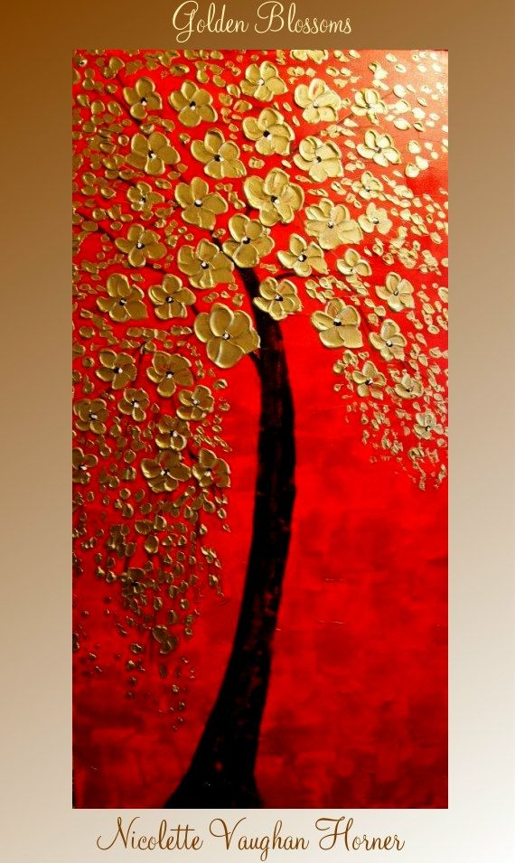 ORIGINAL XL gallery wrap canvas Abstract impasto Floral Trees signature fine art Oil painting by Nicolette Vaughan Horner on Etsy, $295.00