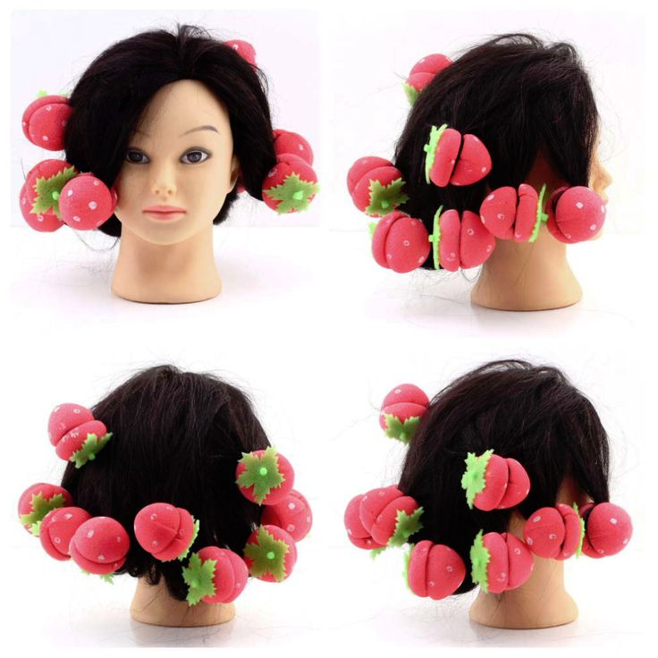 60 pcs Strawberry Balls Hair Care Soft Sponge Rollers Curlers Lovely DIY Tool Wholesale top quality