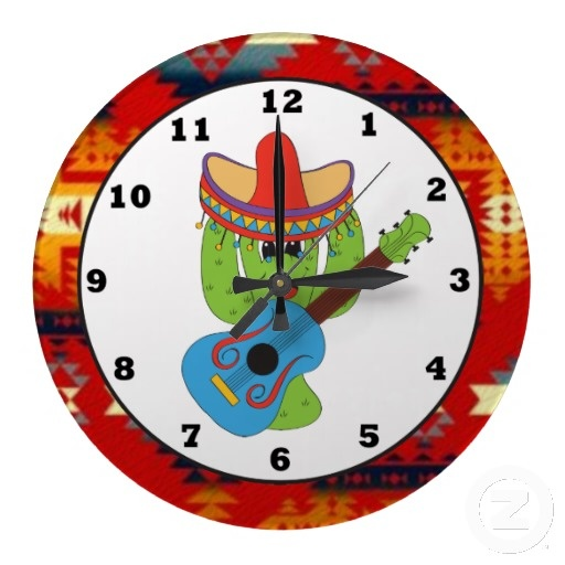 Guitar Playing Cactus Southwestern Wall clock