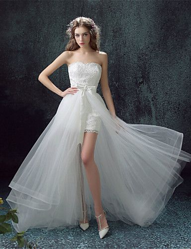 """Asymmetrical wedding dress, you can use it in two different ways by removing or adding the gown! Isn't that great? Click for more details and remember to use coupon code """"PTL10531"""" for an extra discount when you spend $50+"""
