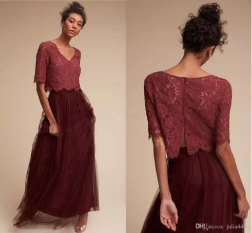 Two Pieces Vintage Country Bohemian Burgundy Bridesmaid Dresses 2017 Lace Tulle Skirt Short Sleeves Beach Holiday Junior Bridesmaid Gown