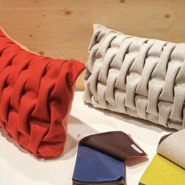 Cushion 'smocking'. Red & light grey BIG SMOCK. Kvadrat textiles. Sewn by hand. mobel og rum