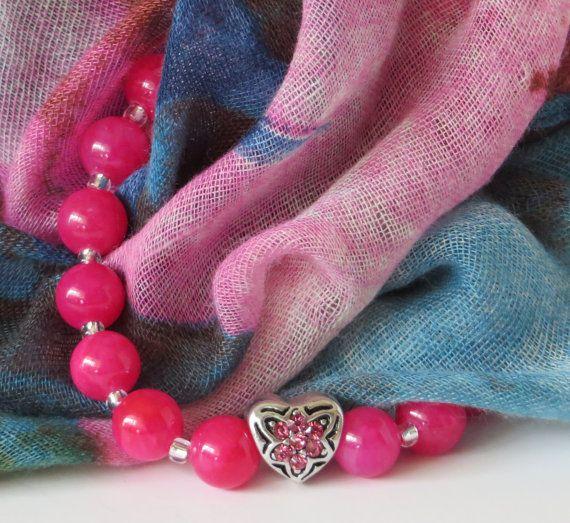 Pink Bead Bracelet / Pink Heart Bracelet / by BeadablesBracelets