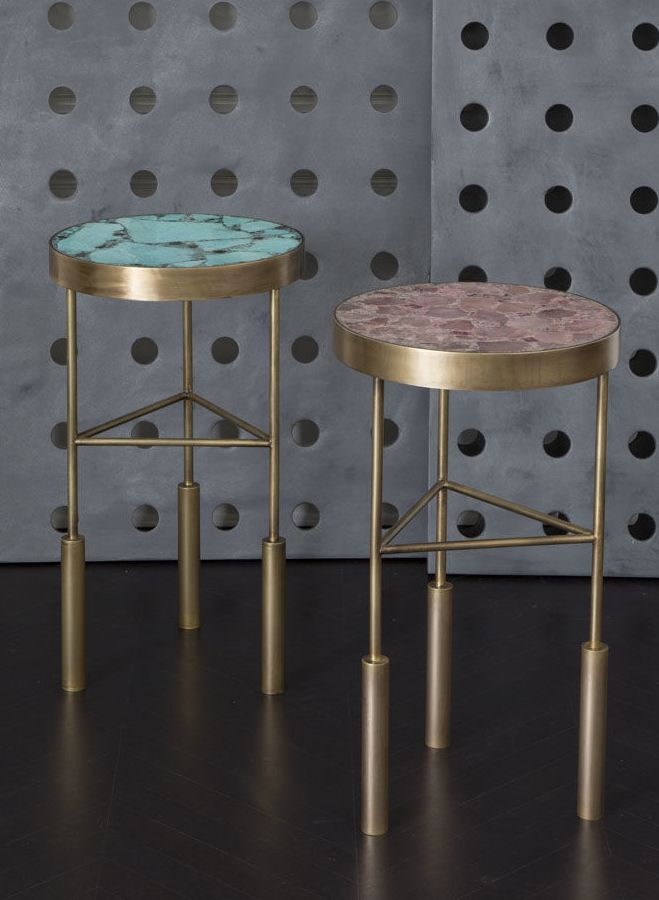 KELLY WEARSTLER | SEDONA SIDE TABLE. Burnished Brass Frame With Inlaid Table  Top Made From