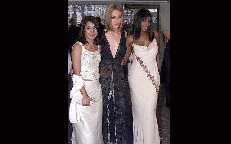 Keira Knightley with co-stars Parminder Nagra and Shaznay Lewis at the Bend it Like Beckham premiere in December 2002