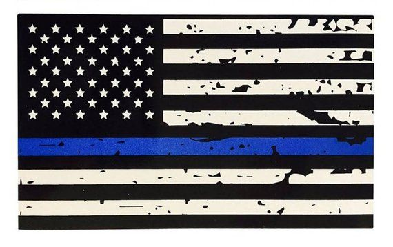 State of NEW JERSEY White Outline Thin Blue line flag decal REFLECTIVE