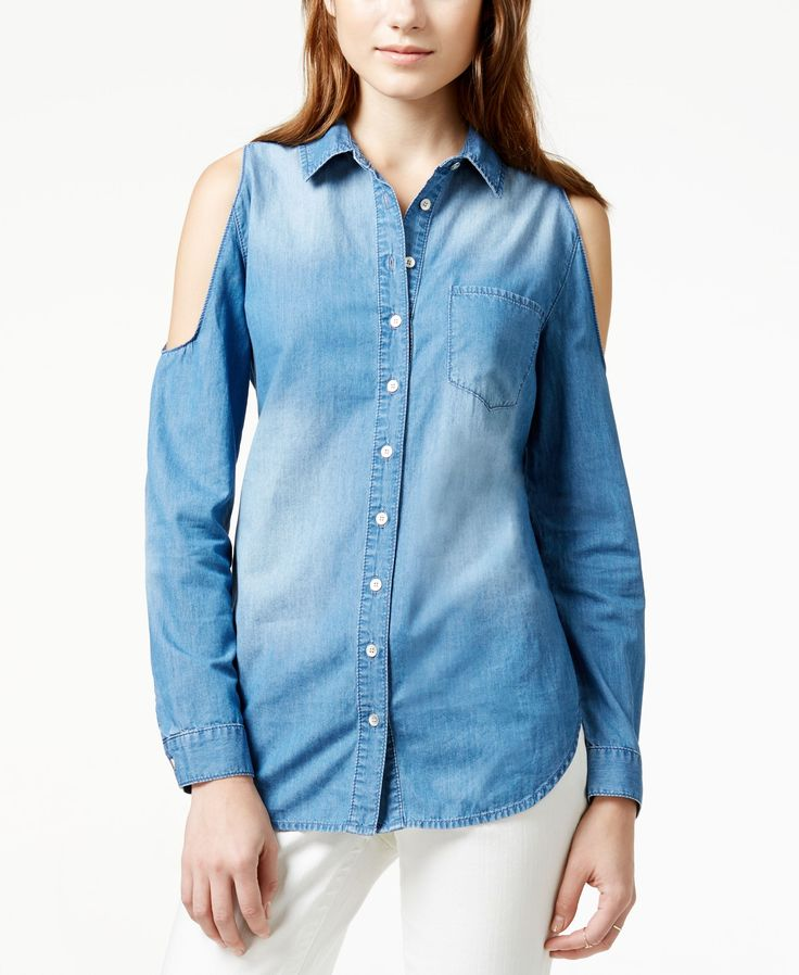 American Rag Cold-Shoulder Denim Tunic Shirt, Only at Macy's