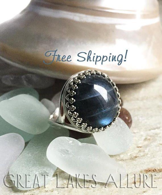a2da149b5c Large Labradorite Ring, Bezel Set Gemstone Ring, Blue and Silver ring, Sterling  Silver Ring, Crown Bezel, Adjustable Ring, Blue Flash Stone