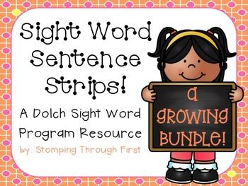 These sight word sentence strips are a perfect addition to your Dolch sight word program! Purchasing this growing bundle of sentence strips will allow you access to all current and future sets of sight word sentence strips in my store. Purchase now to save!!