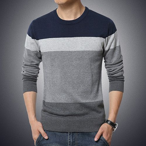 Casual Sweater O-Neck Striped Slim Fit