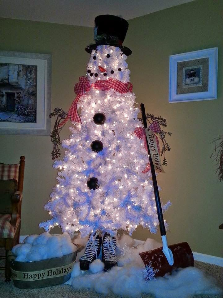 White Christmas Tree Snowman. 12/9/14. This is the first year I've seen this. I'm totally stealing this with a small tree for my kitchen!