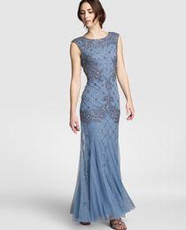 Vestido de mujer Adrianna Papell largo y aplicación de pedrería