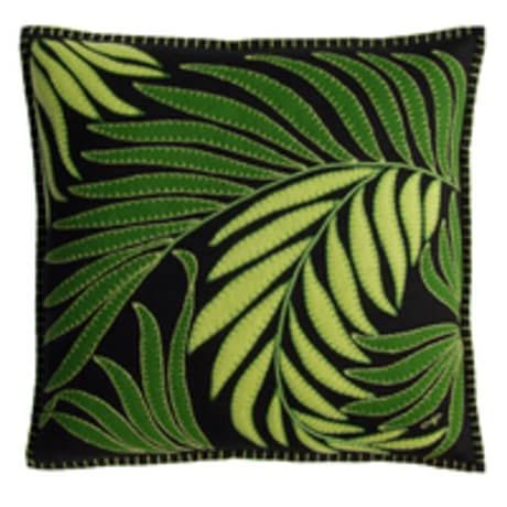 Stunning hand embroidered and applique felt cushions with a Tropical Leaf Design from the talented British designer Jan Constantine. These quality cushions with feather inserts are made to be treasured and will bring colour and vibrancy to any room. Mix and match cushions from her tropical designs to create a stunning display. The cushion is edged with green blanket stitch.
