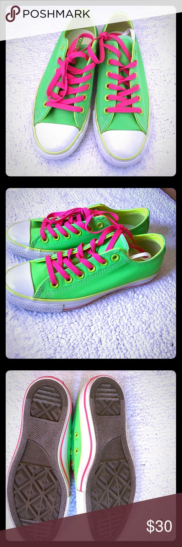Neon Green Converse Brand new converses. Neon green, pink and white. Neon yellow on inside of shoes. Extra white laces. Can fit a mans size 5. Converse Shoes Sneakers