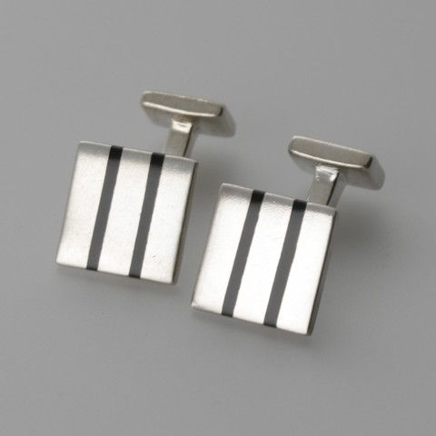 Square lined sterling silver cufflinks by Sky with Diamonds | Sky with Diamonds