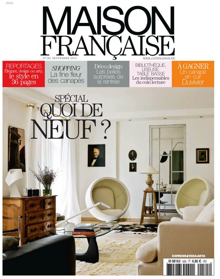 Mid Century Modern living room with famous egg chair, from Maison Francaise  decorating magazine.
