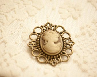 Vintage Cream Lady Portrait Cameo Brooch with Lace Metal Edges