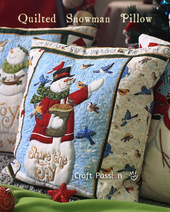 Trapunto Quilting | Snowman Pillow Cover | Free Pattern & Tutorial at CraftPassion.com