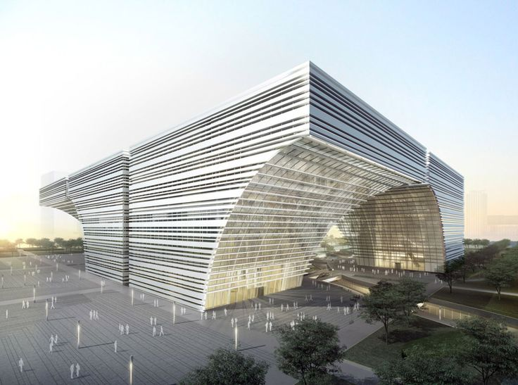 placed next to each other, six arced modules will host an art museum, science + technology center and library for the newly developed city center in changzhou, china.