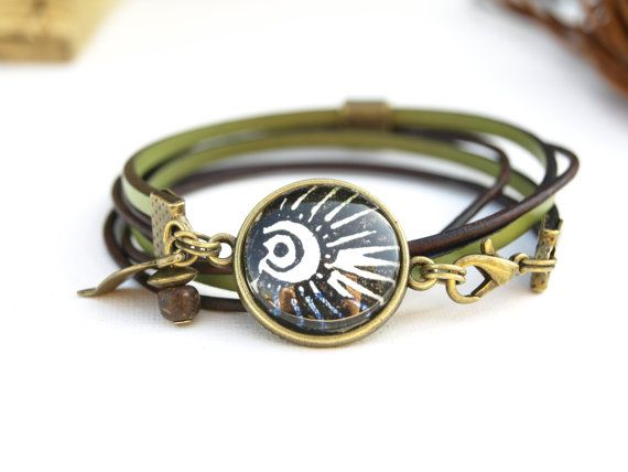 Bracelet cabochon nature vert en cuir pour femme COLLECTION
