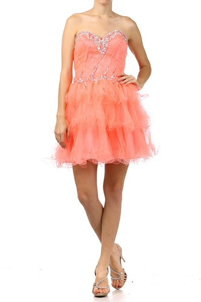 Coral Homecoming Dress Tulle Layer Skirt Short Strapless Above Knee $177.99