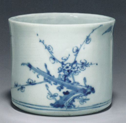 Blue and white brush holder, Joseon Dynasty (late 18th-19th Century)
