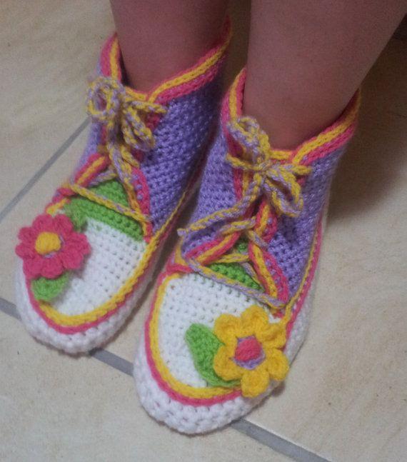 Adultes salle de Gym bottes chaussons crochet patron en anglais seulement