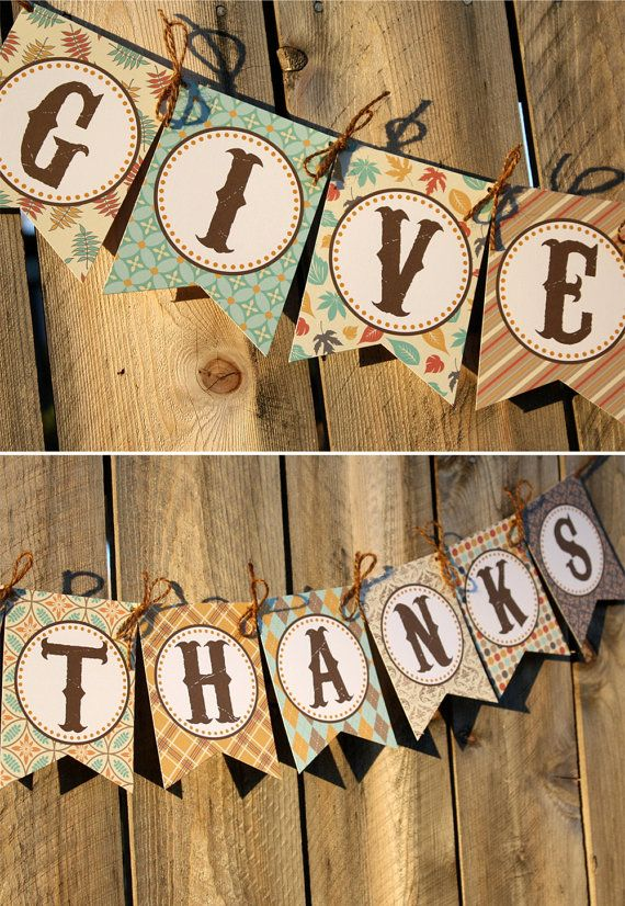 Give Thanks Banner  Printable Thanksgiving door thelovelyapple