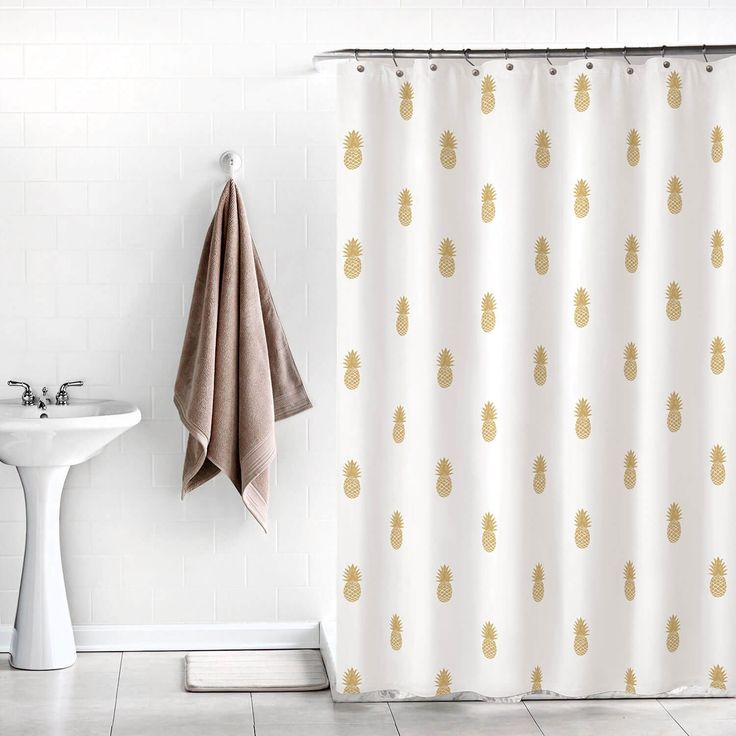 Tropical queen. Add a regal flair to your bathroom with this Golden Pineapple shower curtain // dormify.com