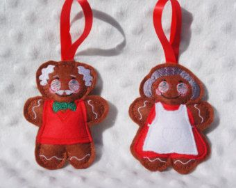 Gorgeous Gingerbread Grandad and Grandma.  Perfect to hang on your tree and great as gifts and stocking fillers x  £4.50 per man or lady.  They are 4 inches tall, made from felt and lightly stuffed, with a satin ribbon for hanging.