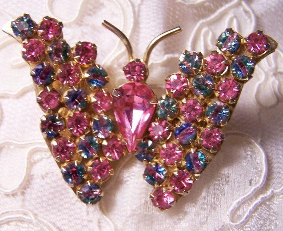 vintage joseph warner rhinestone butterfly pin pink