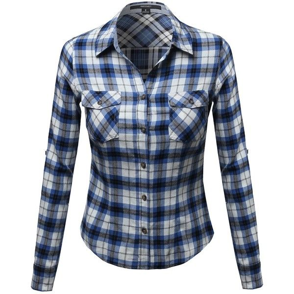 Awesome21 Women's Flannel Plaid Checker Rolled up Shirts Blouse Top ($20) ❤ liked on Polyvore featuring tops, blouses, blue blouse, tartan shirt, blue flannel shirt, shirts & blouses and checkered shirt