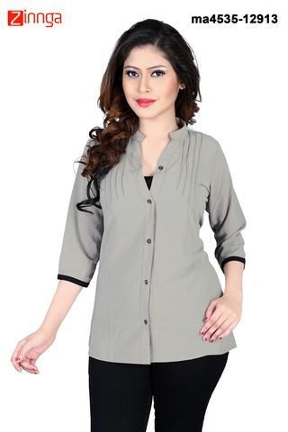 MAYLOZ E-COMMERCE-Women's Stylish Grey Color Georgette Top