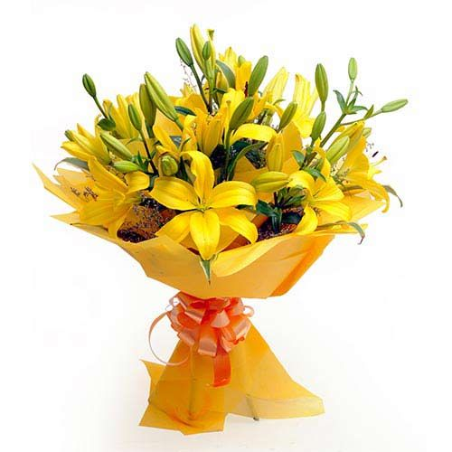 Here is a bunch of 6 Asiatic lilies packed in a yellow paper with a yellow ribbon. Ferns n Petals brings this product to gift it to your loved ones and friends.You can even gift it to your family members. A wonderful bouquet to gift someone in the morning. It will surely refresh your mood and brighten your day. http://www.fnp.com/flowers/asiatic-lilies/--clI_2-pI_27490.html