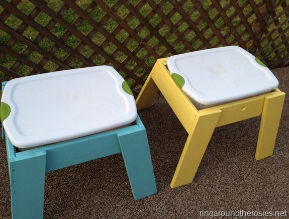 pretty smart!!! DIY sensory tables WITH lids! 1 table has dried large lima beans and the other has water!