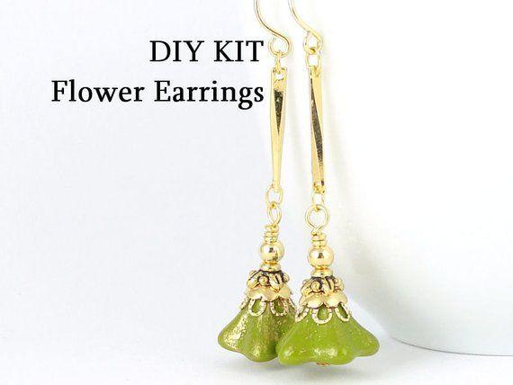 DIY EARRINGS KIT – Gold Beaded Earrings Kit – Flower Earrings Jewelry Kit Do It Yourself – Autumn Fa