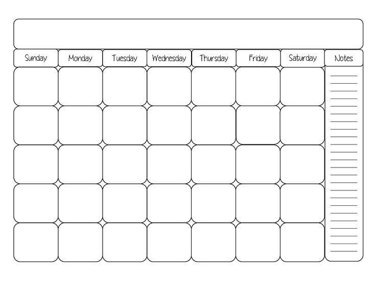 blank month calendar clipart #11 | Printable calendar ...