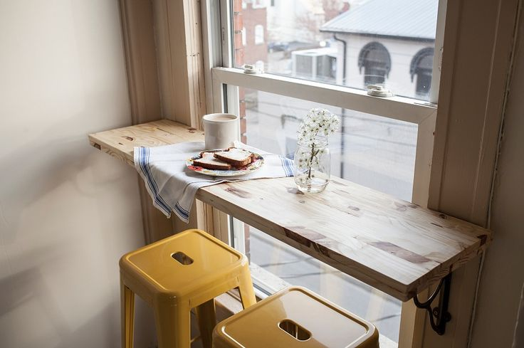 Dining bar, collapsible or not - 21 design hacks for your tiny apartment                                                                                                                                                     More