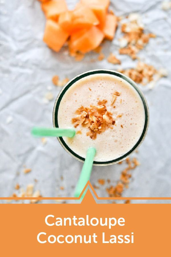 Sip on a refreshing, yet creamy, beverage this summer with this Cantaloupe Coconut Lassi recipe—with hints of honey, cinnamon, cardamom, and nutmeg!