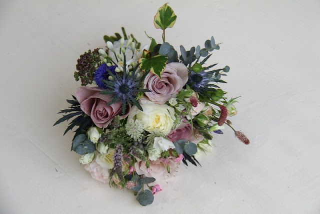 The Flower Magician: Vintage Country Wedding Bouquet to Tone with Blue Bridesmaids Gowns