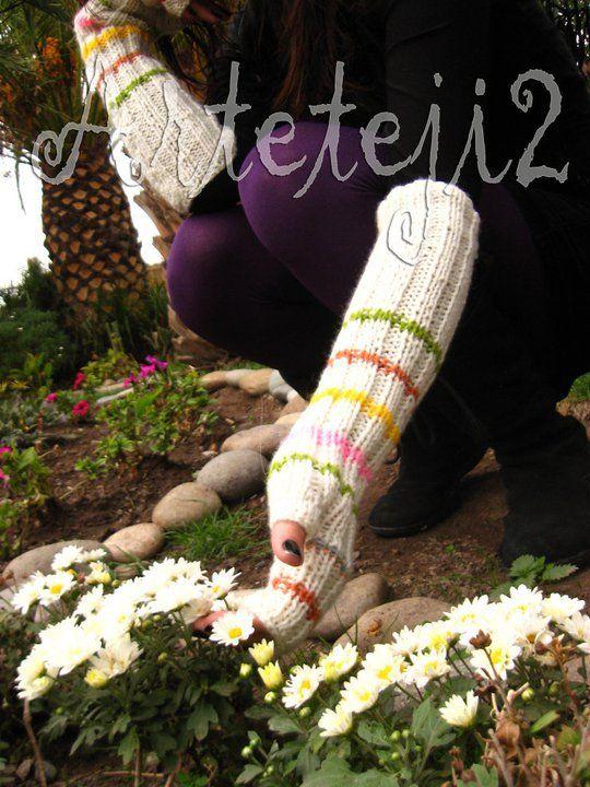 Guantes largos ( hasta el codo)  blanco invierno con detalles   www.facebook.com/arteteji2