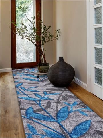 Stunning Spring Leaf Designer Runner Rug Grey Blue from Rugs Of Beauty. https://www.rugsofbeauty.com.au/collections/runners/products/stunning-spring-leaf-rug-grey-blue